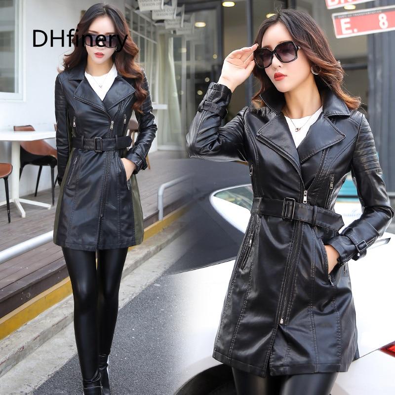 leather   jacket women long design motorcycle PU   leather   jackets woman black   leather   windbreaker size M-5XL 6707