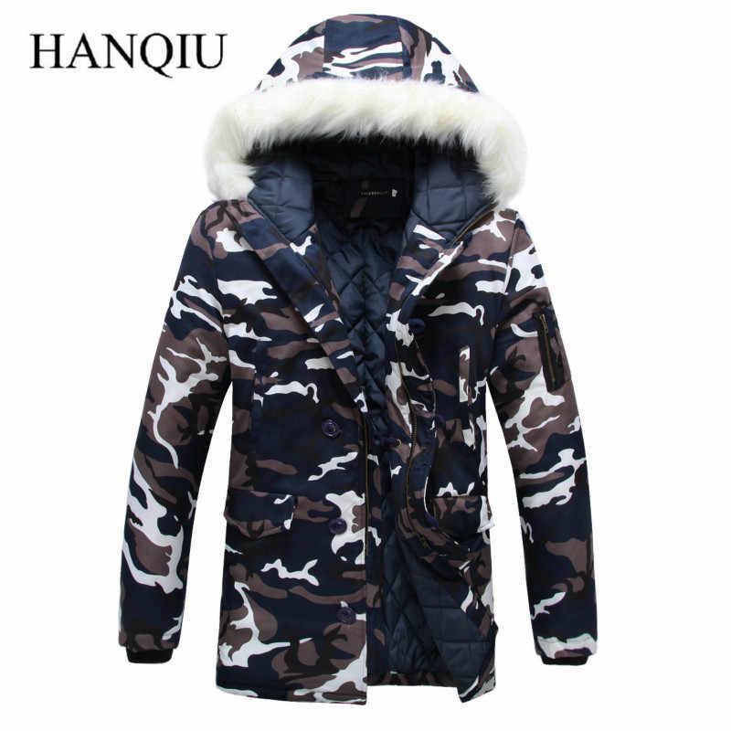 2019 nueva marca hecha de pluma de ganso chaqueta de invierno de camuflaje para hombre chaqueta gruesa Parka para hombre abrigo Cuello de piel con capucha Parkas