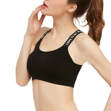 Women Sports Bra for Running Gym Yoga Shakeproof Sportswear Push Up Seamless Underwear Tops Bras For Woman Letter Shoulder Strap