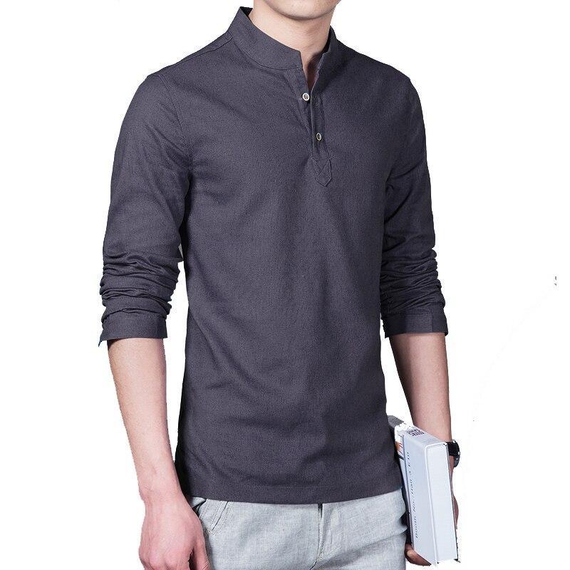 Linen long sleeve casual mens shirts  2