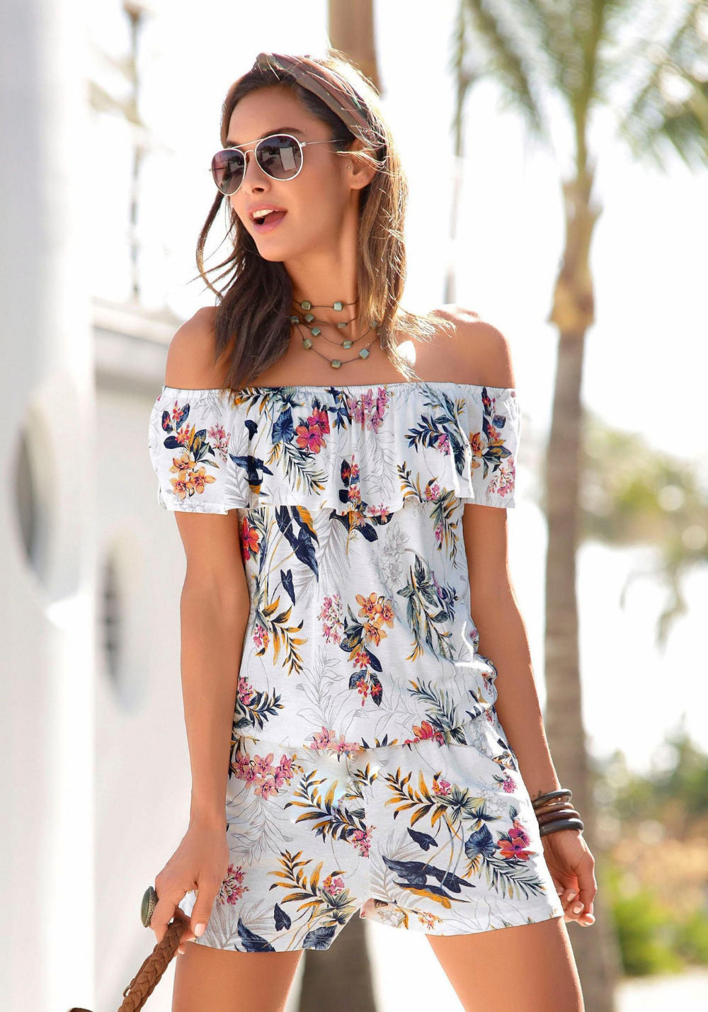 Sexy short Sleeve jumpsuit women short romper 2018 summer women lady floral shorts beach ruffles bodysuit coveralls female frock