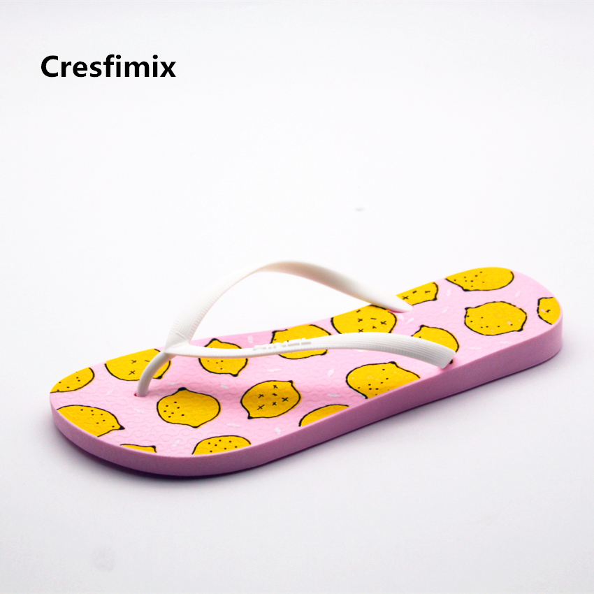 Cresfimix femmes tongs women fashion pink fruit print beach flip flops lady casual soft & comfortable flip flops female slippers