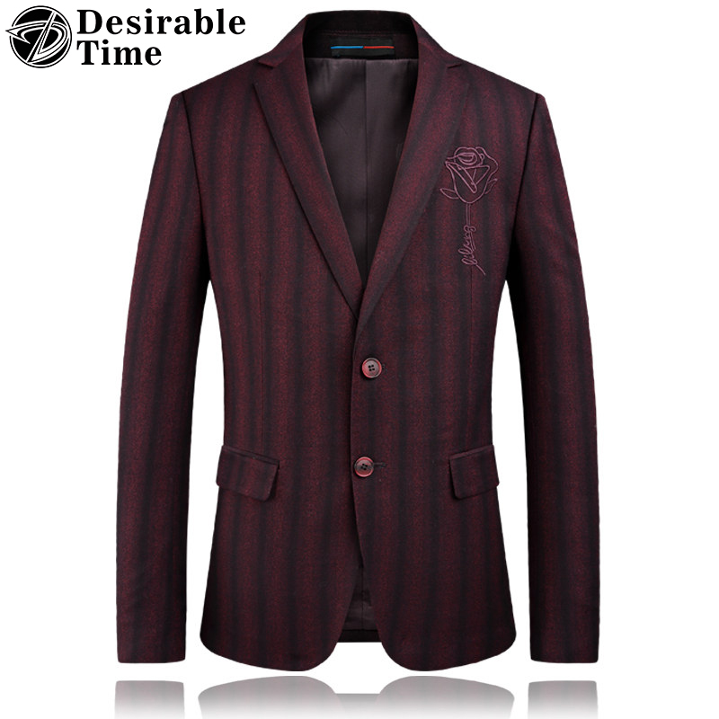 Men Wine Red Striped Blazers Suit Jacket 3XL 4XL Fashion Spring Burgundy Prom Dress Blazer Slim Fit Rose Floral Blazer Men DT359