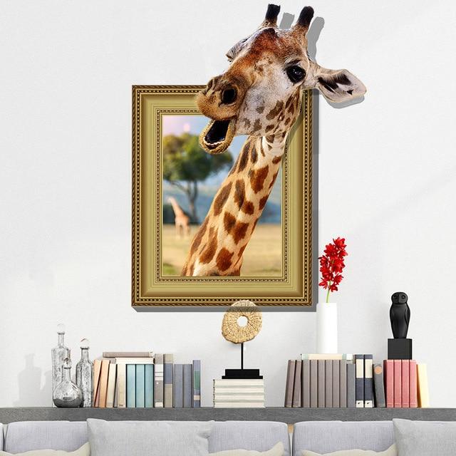Neue 3d lustige giraffe große wandaufkleber wohnkultur wohnzimmer ...