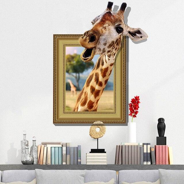 Neue 3d Lustige Giraffe Grosse Wandaufkleber Wohnkultur Wohnzimmer