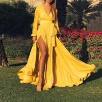 robe femme Women Summer maxi Dresses Bright yellow Sexy Deep V Long Sleeve Belt Laced up Plus Size Solid Beach Dress Side Vent