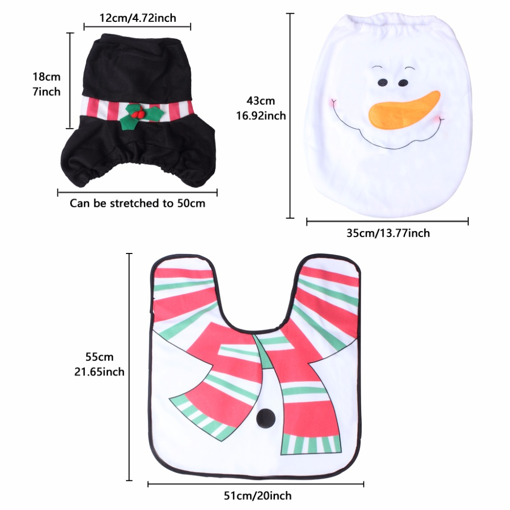 Set Of 3 Snowman Toilet Covers Christmas Decorations Set With Toilet Seat Cover Tank Cover And Rug Bathroom Decorations (2)
