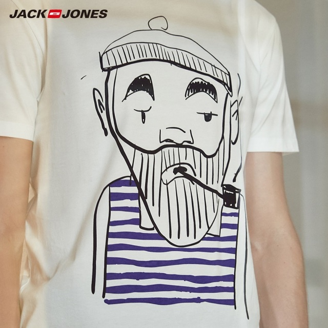 JackJones Men's 100% Cotton Printed Short-sleeved T-shirt E|219101554