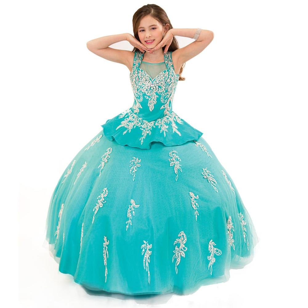 Stunning Vestido de Primera Comunion Mint  Halter Puffy Flower Girl Dress Beading Appliques Glitz Pageant Ball Gown 12 Year 2017