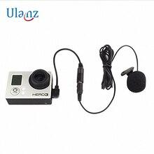 Аксессуары для GoPro, адаптер для микрофона, Mini USB к стереозвуку, аудиоадаптер, кабель 3,5 мм с зажимом для микрофона для Gopro Hero 3 3 + 4
