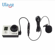 GoPro 액세서리 용 마이크 어댑터 미니 USB 스테레오 오디오 어댑터 케이블 3.5mm Gopro Hero 3 3 + 4 용 클립 온 마이크 포함