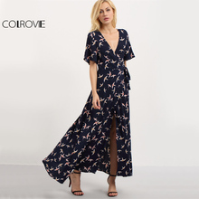 COLROVIE Colorful Birds Print Maxi Dress 2017 Women V-cut Split Wrap Long Summer Dresses Fashion Holiday Drawstring Beach Dress