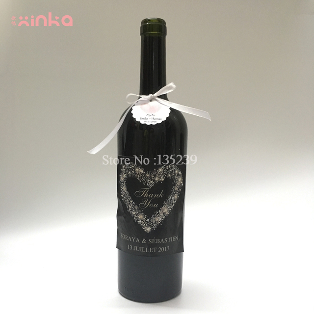 Pcs Custom Wedding Wine Bottle Label  Heart Tags Ribbon