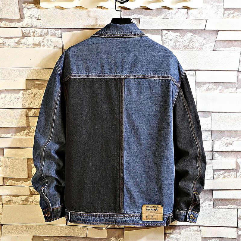 Herfst Lente 2020 Plus Size 5XL 4XL-L Max Borst 146 Cm Denim Jeans Jas Mannen Stand Kraag Casual Mode Kleding