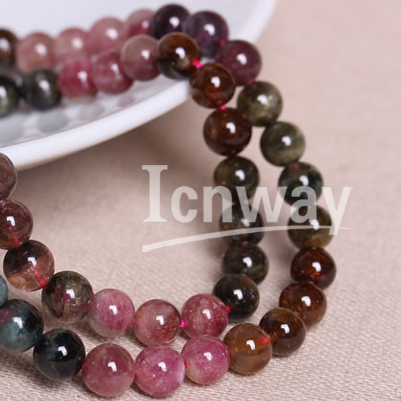 Natural Round Tourmaline Beads For Jewelry Making 3mm 4mm 5mm 6mm 15inches DIY Jewellery FreeShipping Wholesale
