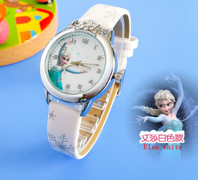2018 New Relojes Cartoon Children Watch Princess Elsa Anna Watches Fashion Kids Cute Relogio Leather Quartz WristWatch Girl Gift In Childrens From