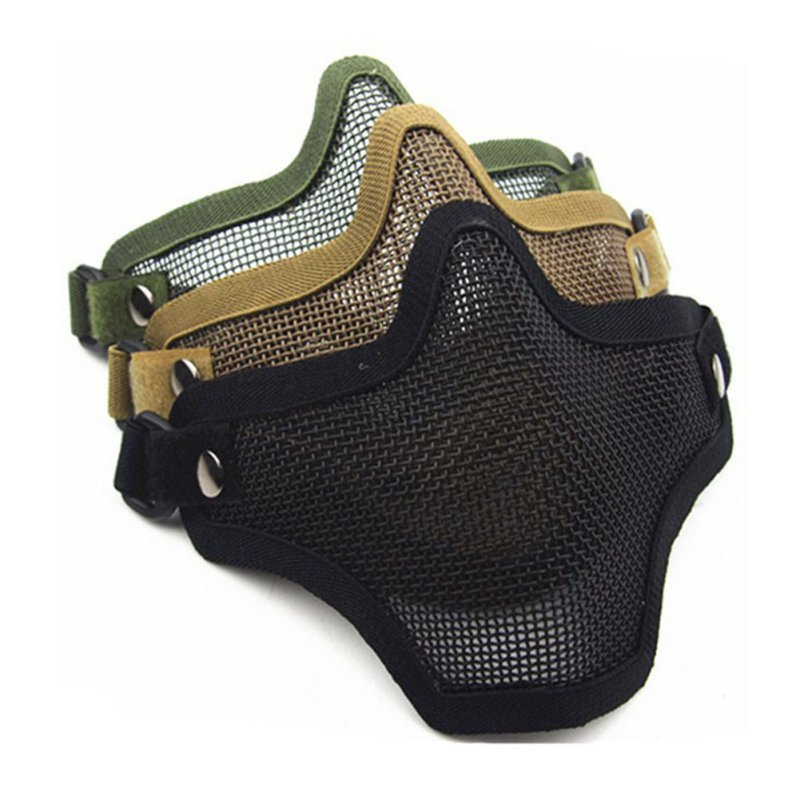 Strike Metal Mesh Protective Skull Mask Outdoor Self-defense Half-face Wire Harness Field Mask Sports Mask Military Equipment