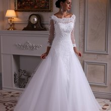 Cecelle 2019 White A-line Wedding Dresses With 3/4 Sleeves