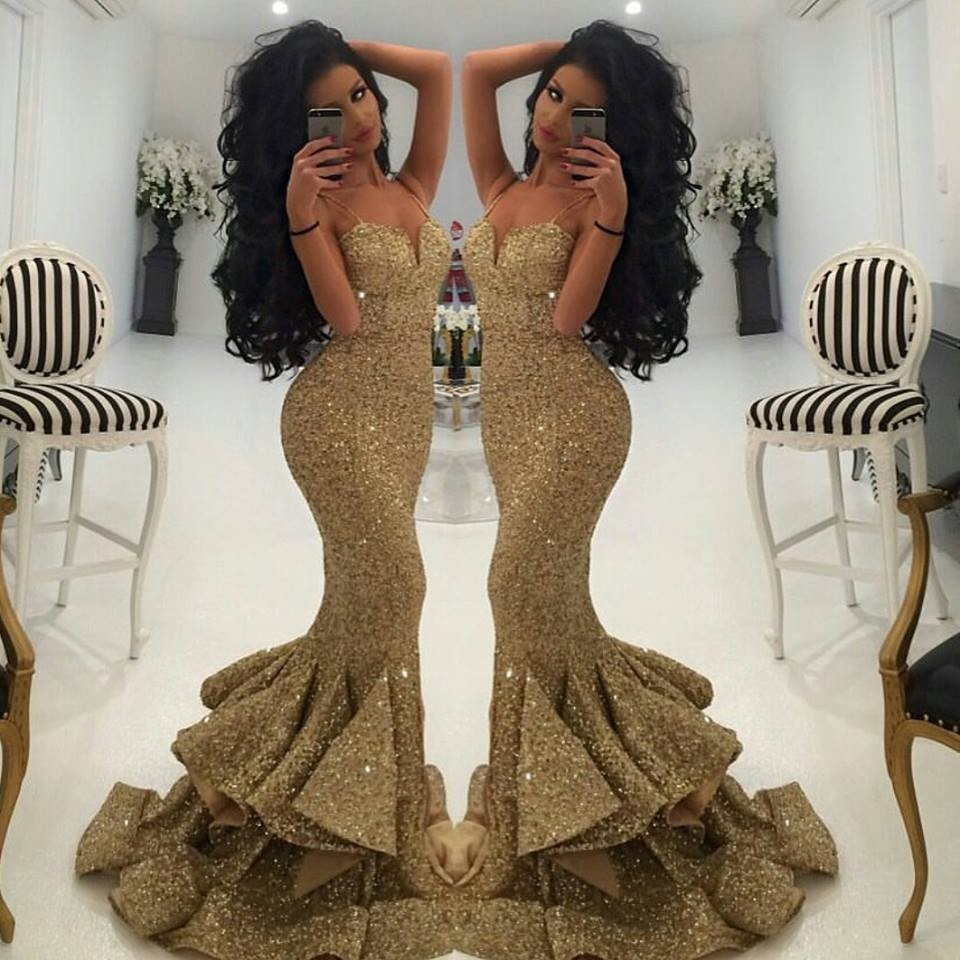 Gold Spaghetti Prom Dress 2017 New Sequin Mermaid Evening Dress With Ruffle On The Bottom