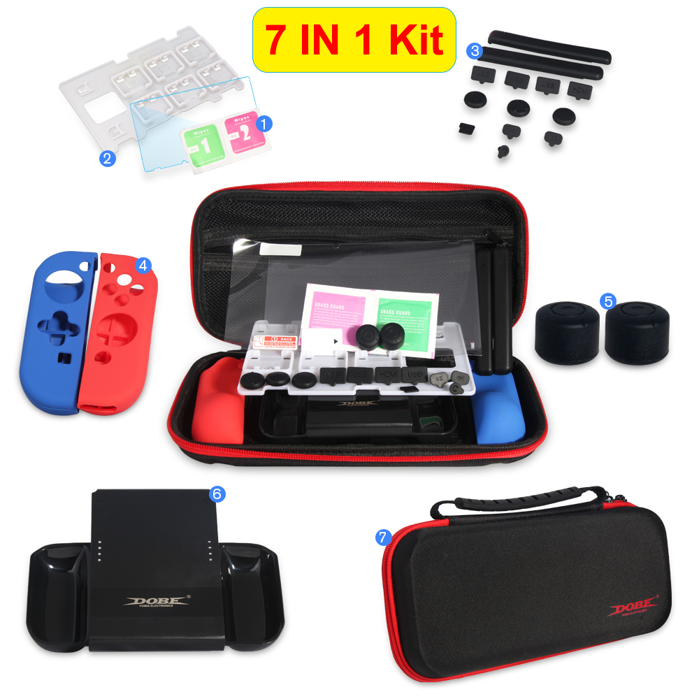 7 IN 1 Protective Kit with Carrying Bag Joy-con Silicone Case Charger PET Film Handle Grips Dust-proof for Nintend Switch NS
