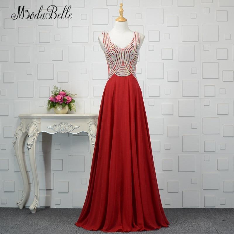 Modabelle cristal rouge robes de bal 2018 bleu Royal/bordeaux Robe Longue soirée en mousseline de soie Robe de soirée Haute Couture robes de soirée