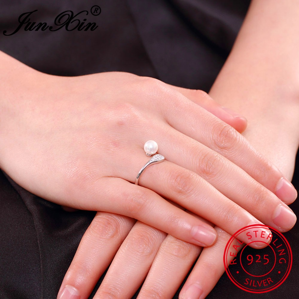 Sterling Silver Rings Adjustable Ring with Pearl and Cubic Zirconia