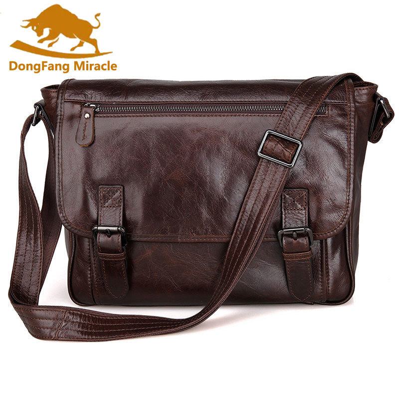 DongFang Miracle 100% Excellent Genuine Leather Handbags Vintage Leather Men Shoulder bag Messenger Crossbody Bag dongfang miracle high quality genuine leather men messenger bags casual shoulder bag male multifuntional small bag