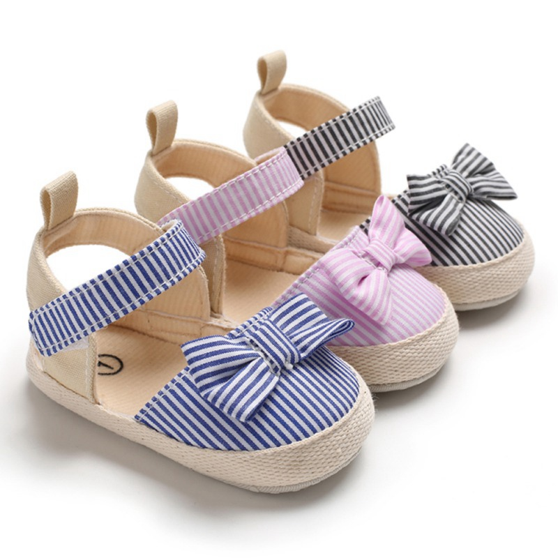 Baby Girl Sandals Breathable Stripe Pattern Anti-Slip Girls Shoes With Bowknot Casual Sneakers Toddler Soft Soled Beach Sandals