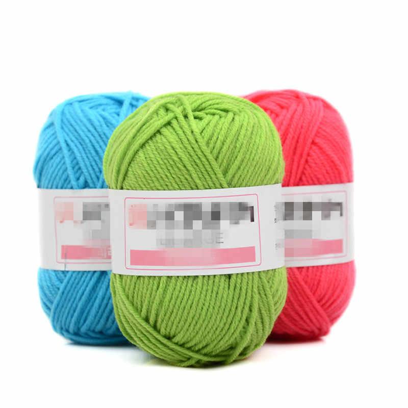Venta al por menor de 25g/colorido 4 # peinado suave leche de bebé de hilo de algodón de fibra de hilo de tejer a mano de lana hilo de ganchillo de suéter