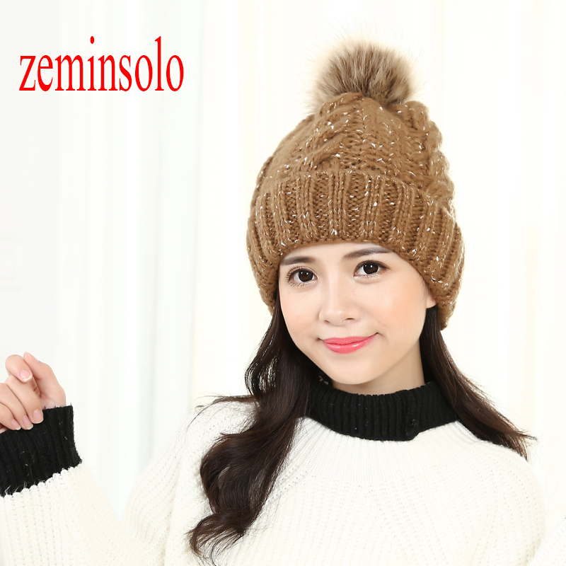 New Brand Mink Fur Ball Pom Poms Women's Winter Hat For Women Girls Wool Hats Knitted Cotton Beanies Skullies Thicken Female Cap mink and fox fur ball cap pom poms winter hat for women girls wool hats knitted cotton beanies skullies caps thicken female hats
