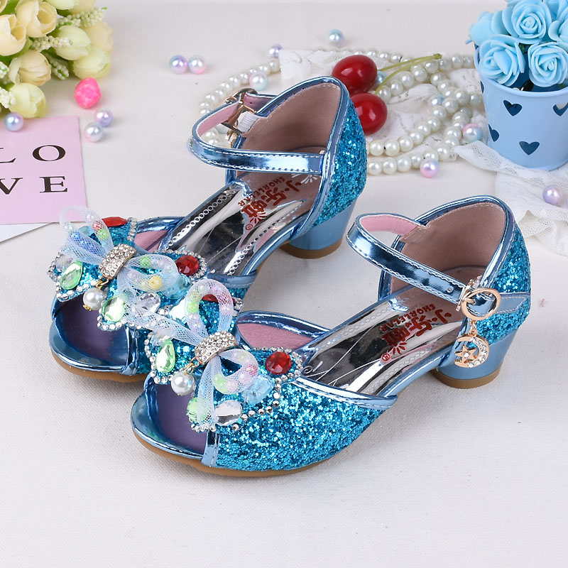 Pink Blue Gold High Heels Shoes Girls Sandals children Fashion PU ... 1f23f9f9559a