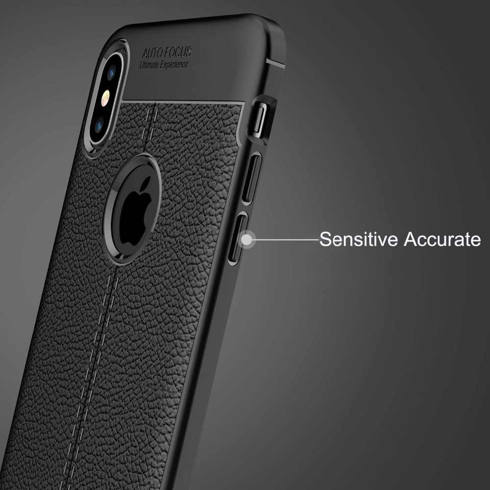 buy online b503d 76547 Auto Focus Case For iPhone X Case Business Leather Silicone Soft TPU Cases  For iPhone XR XS MAX 7 8 Plus Luxury Case Back Covers