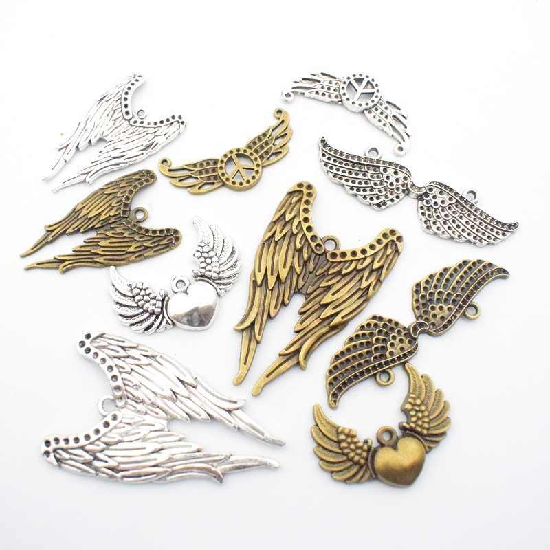 20 Buah Kerajinan Persediaan Besar Bulu Sayap Malaikat Hiasan Liontin untuk Kerajinan, Perhiasan Aksesori untuk DIY Gelang Kalung