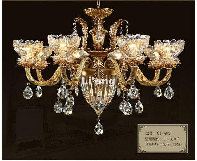 European Brass Chandelier Light Fixture E14 Antique Brass Pendant, Vintage  Copper Crystal Lamp Lustres Lighting - European Brass Chandelier Light Fixture E14 Antique Brass Pendant