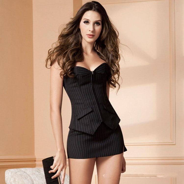 Fashion Sexy Women Lingerie Underwear Nightwear Sleepwear Babydoll Erotic Chemise Bustier Corset Striped 3pcs set Skirt G-st