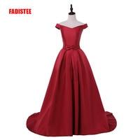 FADISTEE New arrival party evening dresses Long dress Vestido de Festa A line bow satin gown V opening back style dress
