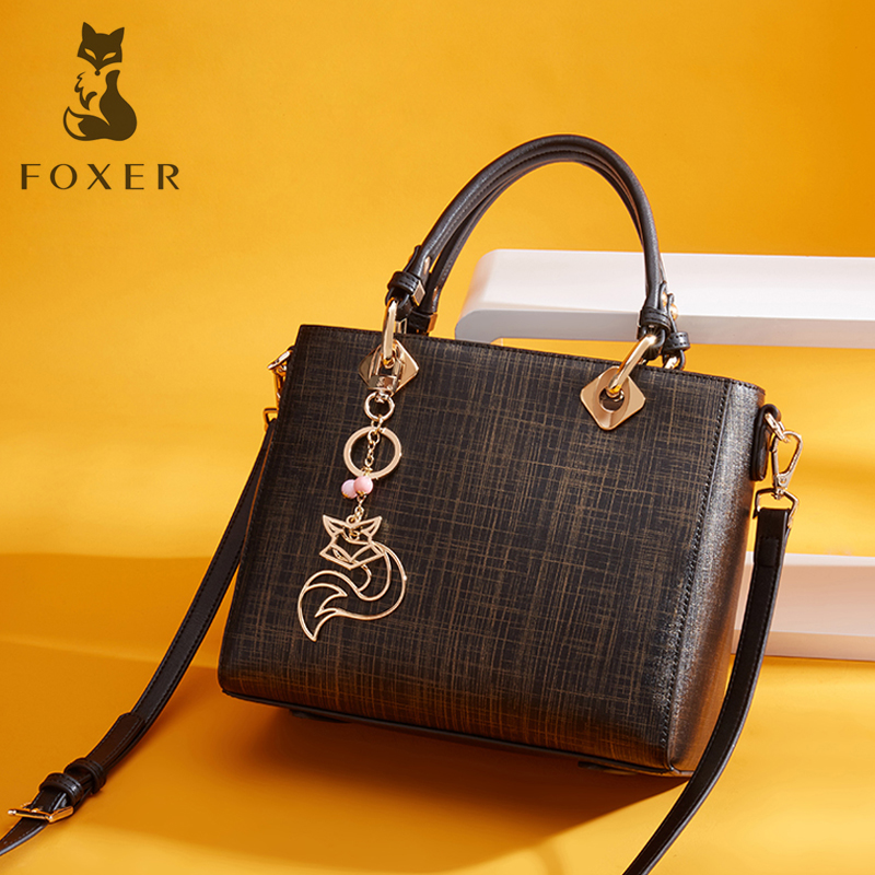 FOXER Brand Women's Cow Split Leather Handbag New Fashion Lady Tote Luxury Shoulder Bag for Women Cowhide Shoulder bag&Handbags foxer brand women s cow leather handbags female shoulder bag designer luxury lady tote large capacity zipper handbag for women page 1