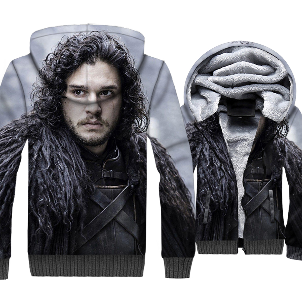 harajuku thicken wool liner sweatshirts funny 3D Printing swag clothes 2019 men Game of Thrones jackets brand tracksuits coats in Hoodies amp Sweatshirts from Men 39 s Clothing