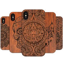 Retro PC+Wood Skull Case for iPhone XS Novelty Vintage Phone Cases Cover for iPhone XS MAX XR SE 5S 7 8 Plus 6s 6 Wooden Shell
