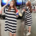 2017 Spring and Summer Women Dress Causal Loose Oversized Long Stripe Short Sleeve T-shirt