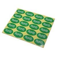 Oval Verde Auto Adesivo Pacote de Adesivos Para A Eletrônica RoHS Caractere Impresso Etiqueta de Proteção Ambiental de Papel Por Atacado