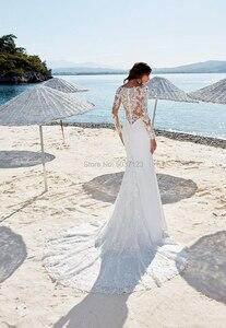 Image 3 - Deep V Neck Mermaid Wedding Dresses Long Sleeves Lace Appliques Button Back Plus Size Vestido De Novias Bridal Wedding Gowns