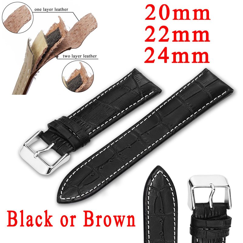 Leather Watch Band Watchbands 20mm/22mm/24mm Black Brown Watch Strap For Men/Women Watch Belts For Boy Girl Accessories Strap