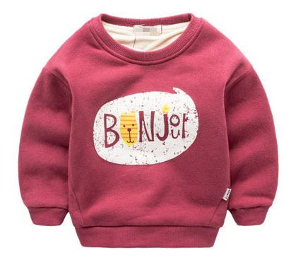2016 Crianças Novas de Inverno Além de veludo com capuz Grosso de algodão Moda Bebê das meninas Dos Meninos T camisa Cashmere Quente crianças hoodies roupas