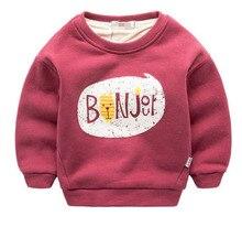 2016 New Hiver Enfants Plus de velours shirts en coton Épais Mode Bébé Garçons filles t-shirt Chaud Cachemire enfants vêtements hoodies