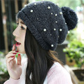 2016 NEW Autumn Winter Pearls Velvet Knitted Hat For Women Hat Fashion Warm Skullies Beanies Female Cap Free Shipping