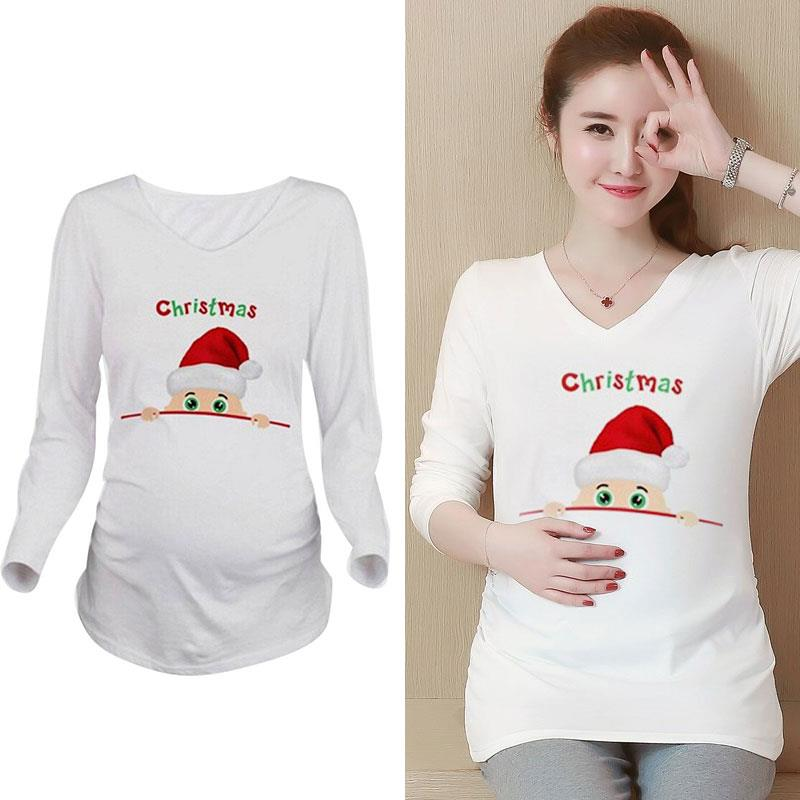 Top T-Shirt Maternity Accessory Casual Clothing Comfortable Pregnant Women Fashion 5 Sizes Snowman Printing Daily Wear Christmas