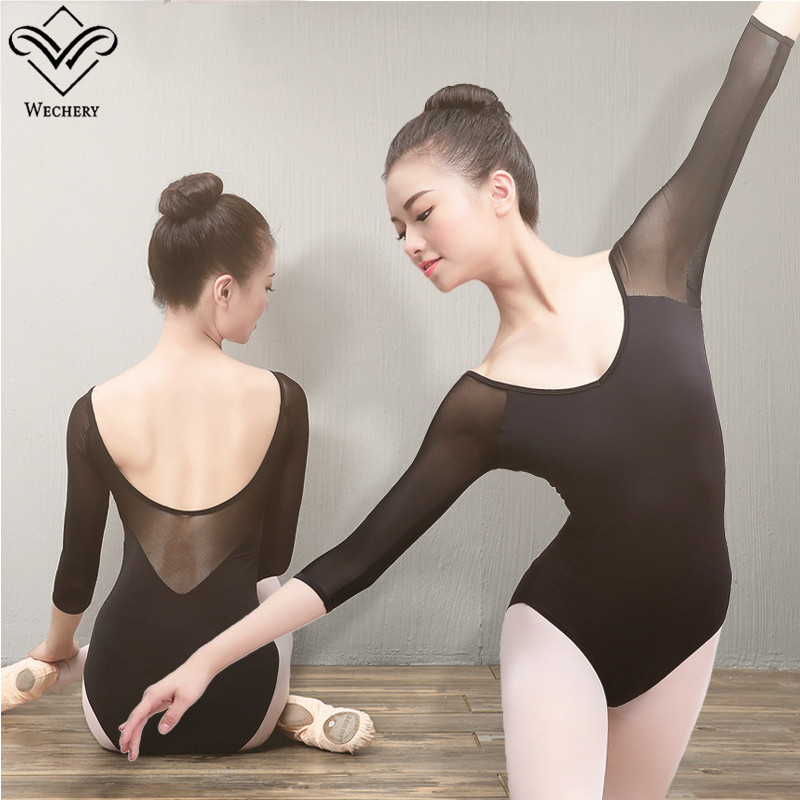 Wechery Ballet Dance Bodysuit for Women Mesh Cotton Elastic Leotard Gymnastics Dancing Clothes Black Soft Acrobatics Leotards