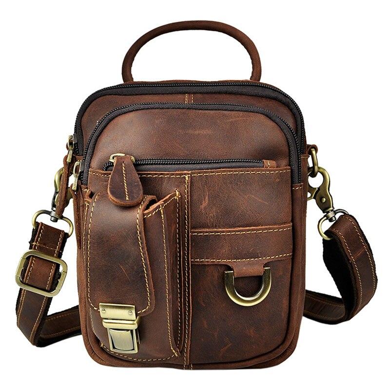 Vintage Genuine Leather Casual Travel Bag Men's Shoulder Messenger Bag Handbag Waist Belt Pack Cell Phone Case