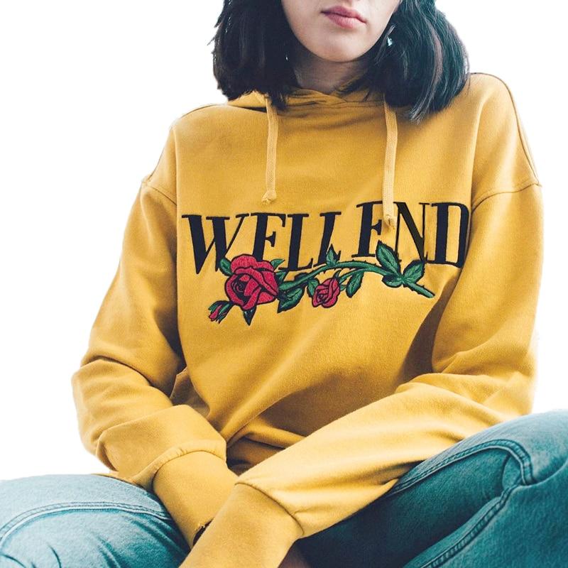 Fashion Rose Letter Print Hoodies 2018 Autumn Casual Hooded Sweatshirts Long Sleeve Pullovers Women Tracksuit Sportswear D706271